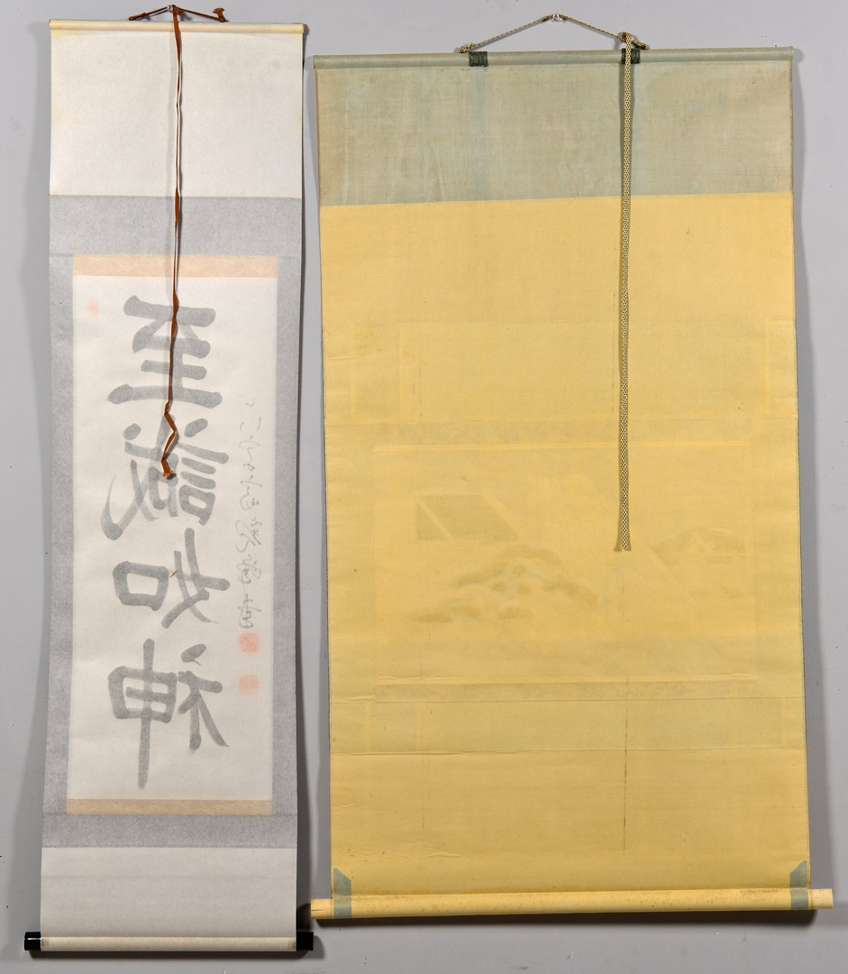 Lot 423: 2 Chinese Scrolls plus Cricket Picture
