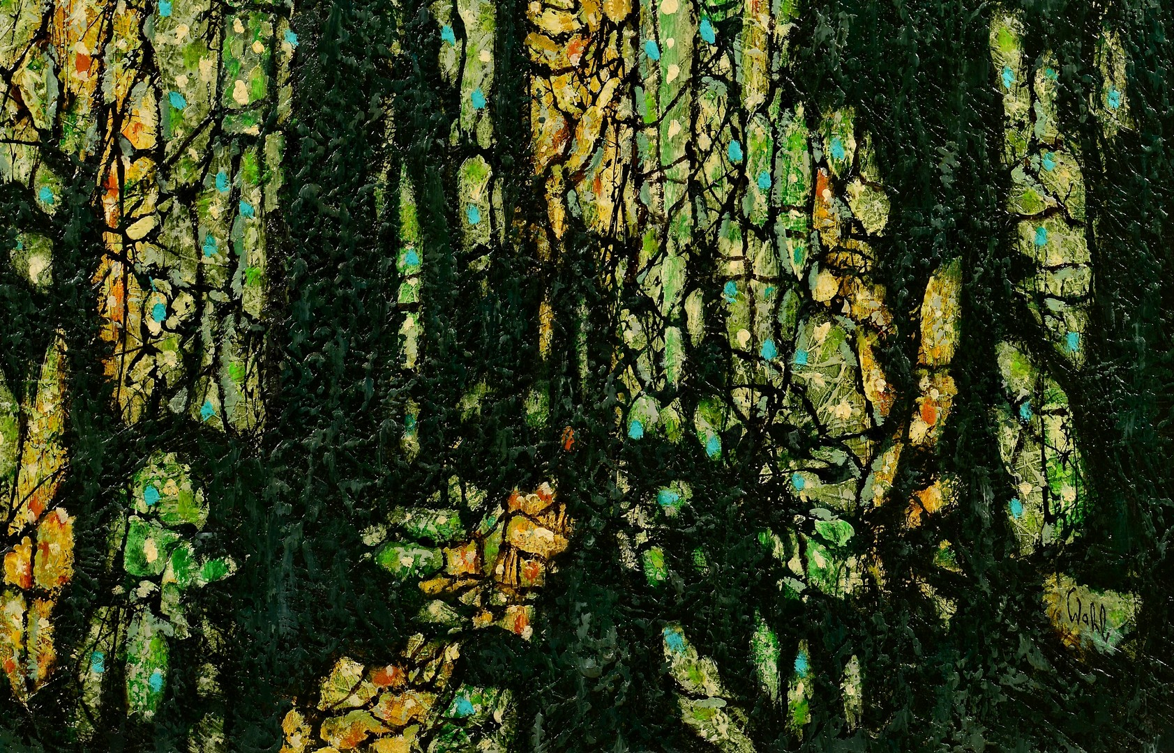 Lot 424: Harold Wahl Large Abstract, Rainforest