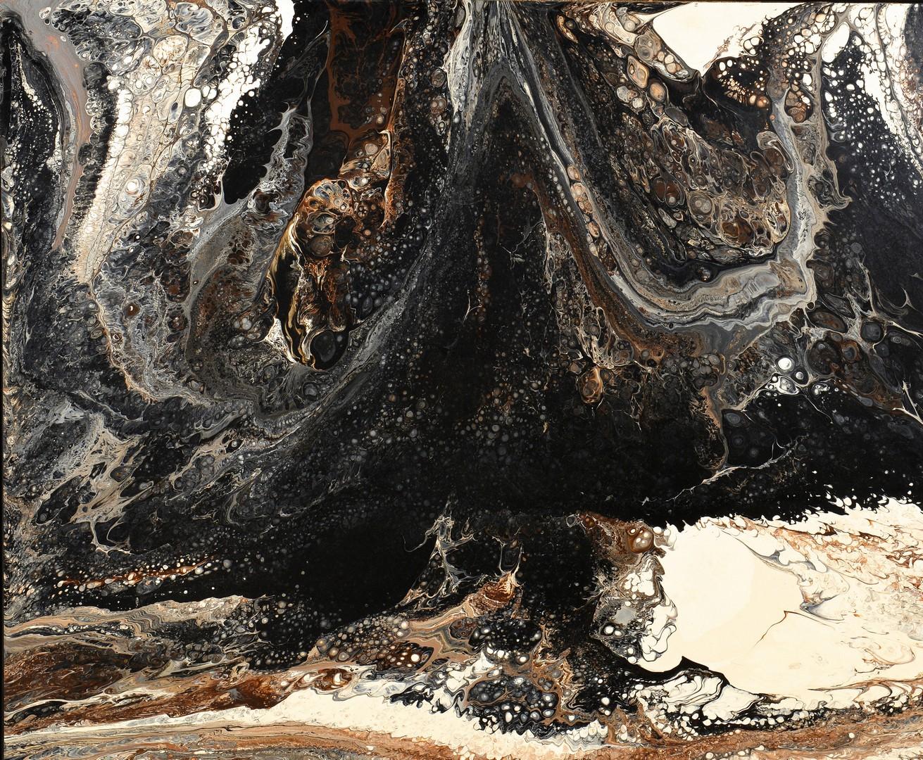 Lot 425: Richard Mann, abstract oil on board, shades of gra
