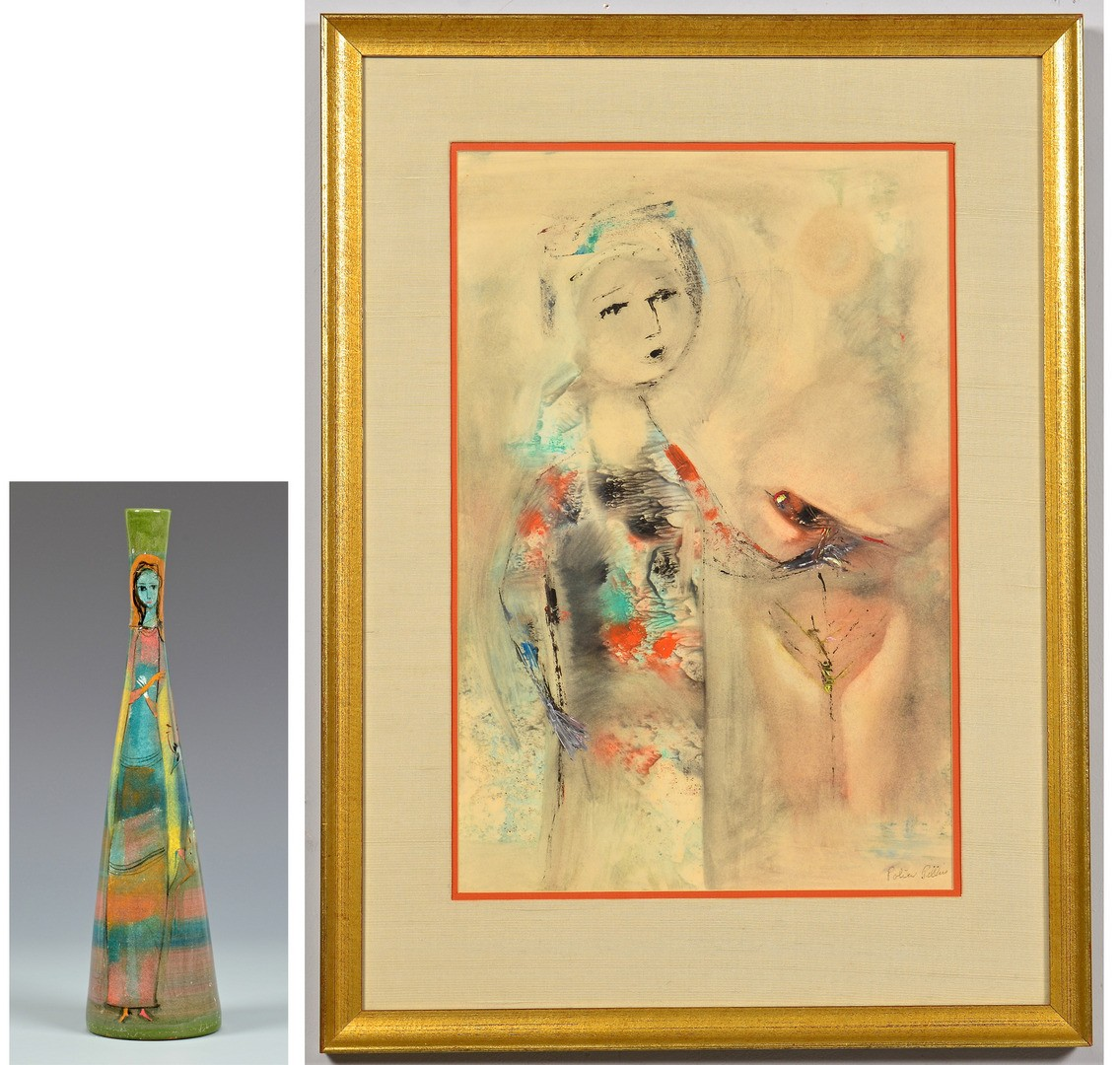 Lot 428: Polia Pillin Painting and Vase