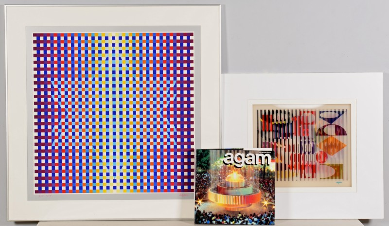Lot 429: 2 Yaacov Agam Serigraphs & Book