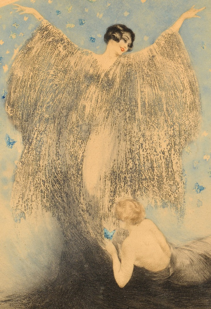 Lot 430: Louis Icart Lithograph, Butterflies
