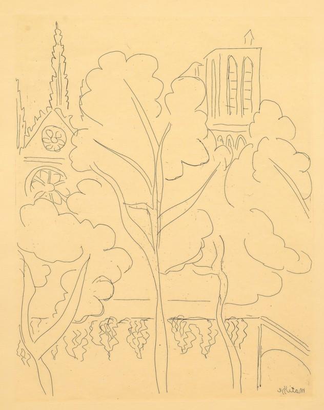 Lot 431: Henri Matisse etching, Notre Dame