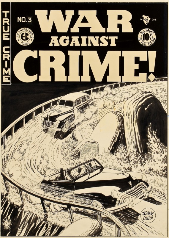 Lot 438: Johnny Craig War Against Crime #3 Cover Art