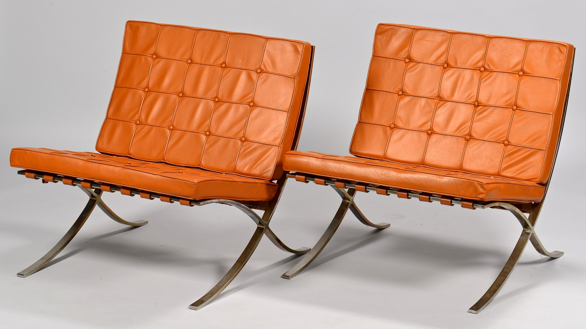 "Lot 445: Pair of ""Barcelona"" Style Chairs"