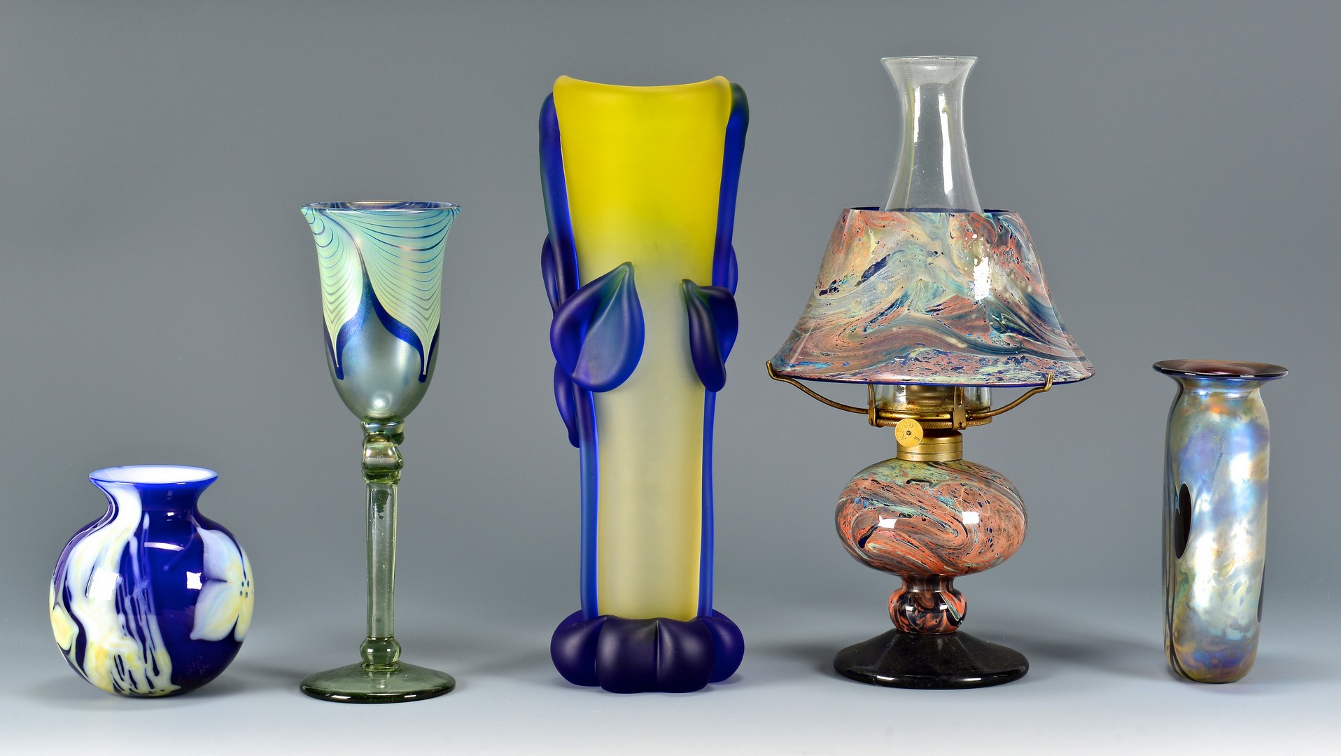 Lot 454: Group of Contemp. Signed Art Glass Items, 5 pcs.