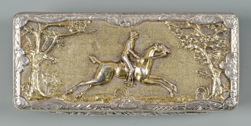 Lot 45: Parcel Gilt Snuff Box, Fox Hunt Scene