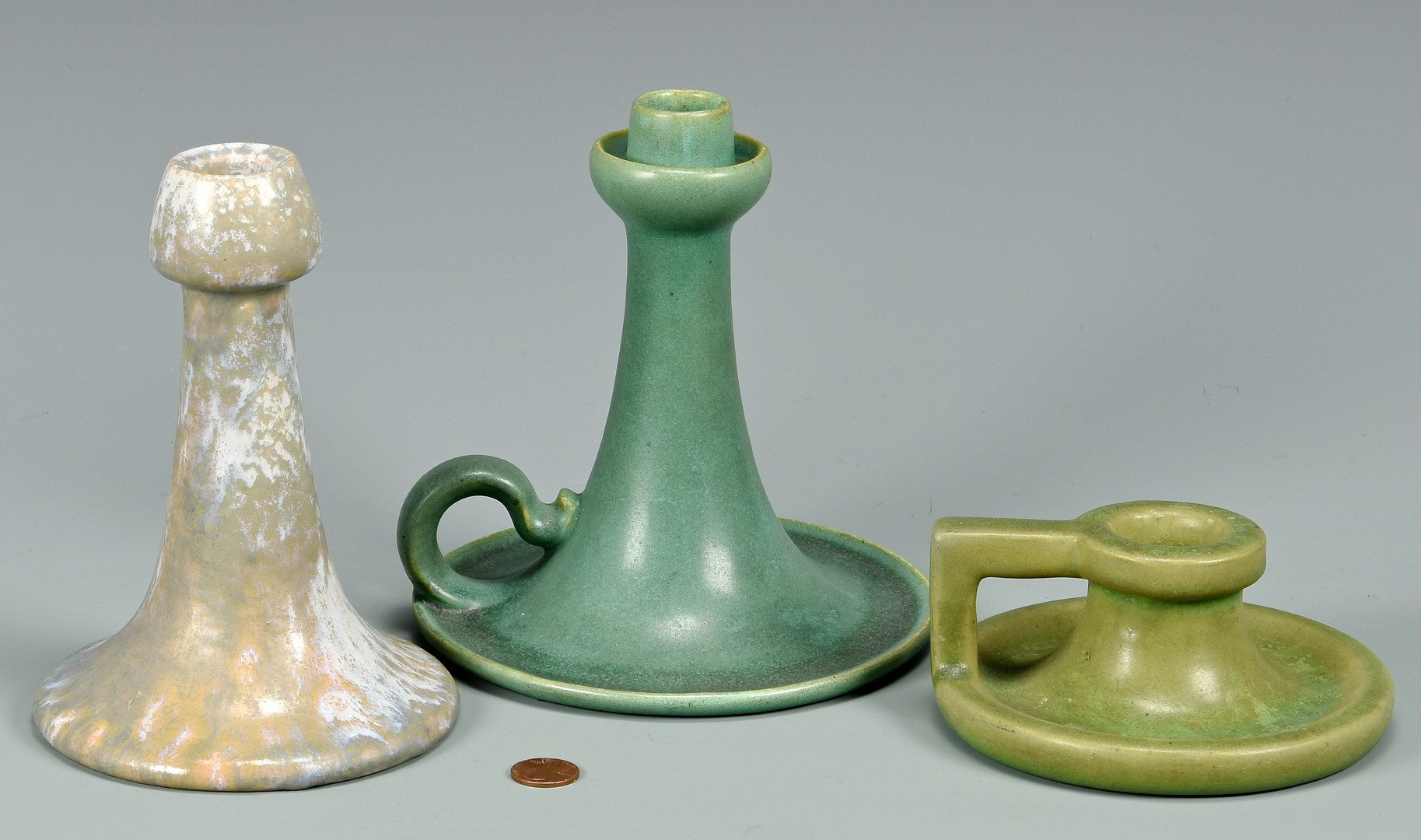 Lot 461: Teco Art Pottery Candlesticks plus 1 other