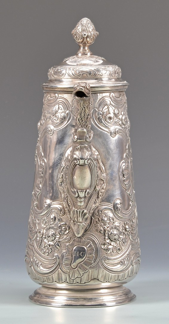 Lot 46: 18th Cent. Irish Sterling Coffee or Chocolate Pot