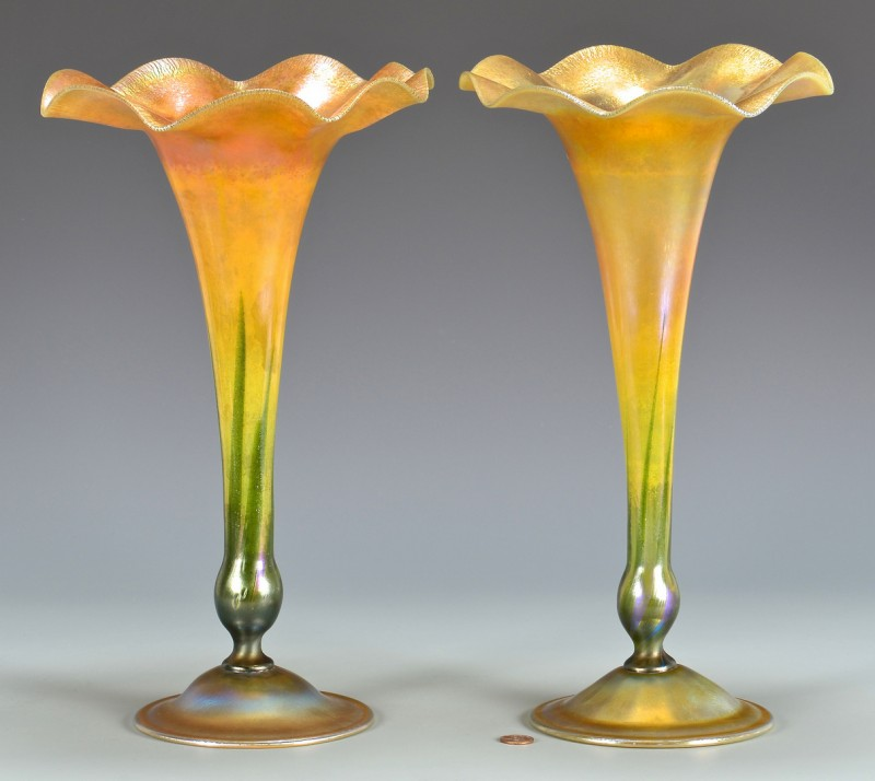 Lot 477: 2 Tiffany Favrile Scalloped Trumpet Vases