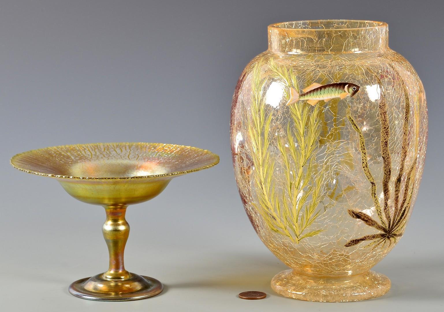 Lot 478: Tiffany Favrile Compote & Crackled Art Glass Vase