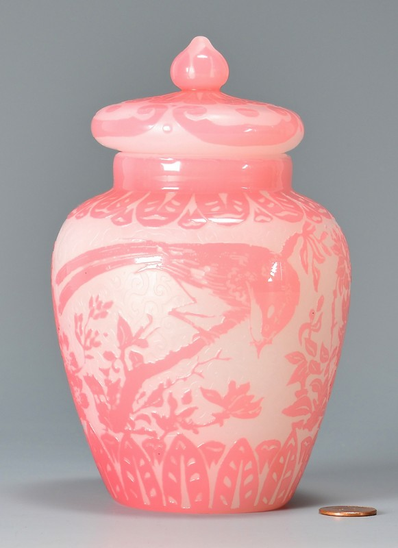 Lot 479: Steuben Cameo Glass Vase, Bird