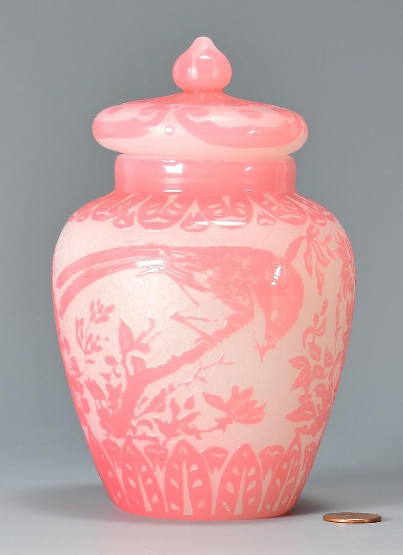 Lot 479: Steuben Cameo Glass Vase, Bird