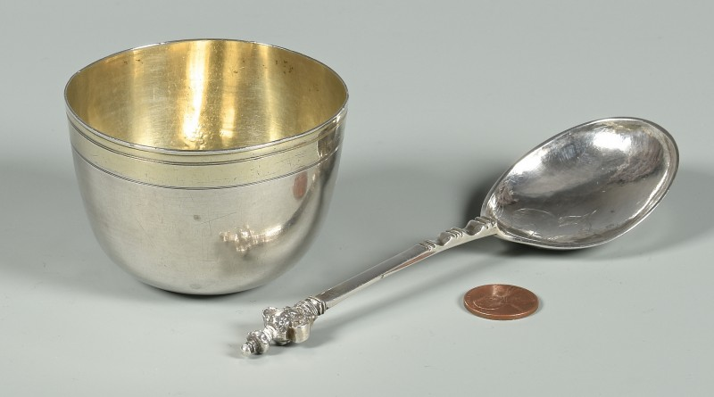Lot 47: 17th c. Silver Cup, Anointing Spoon