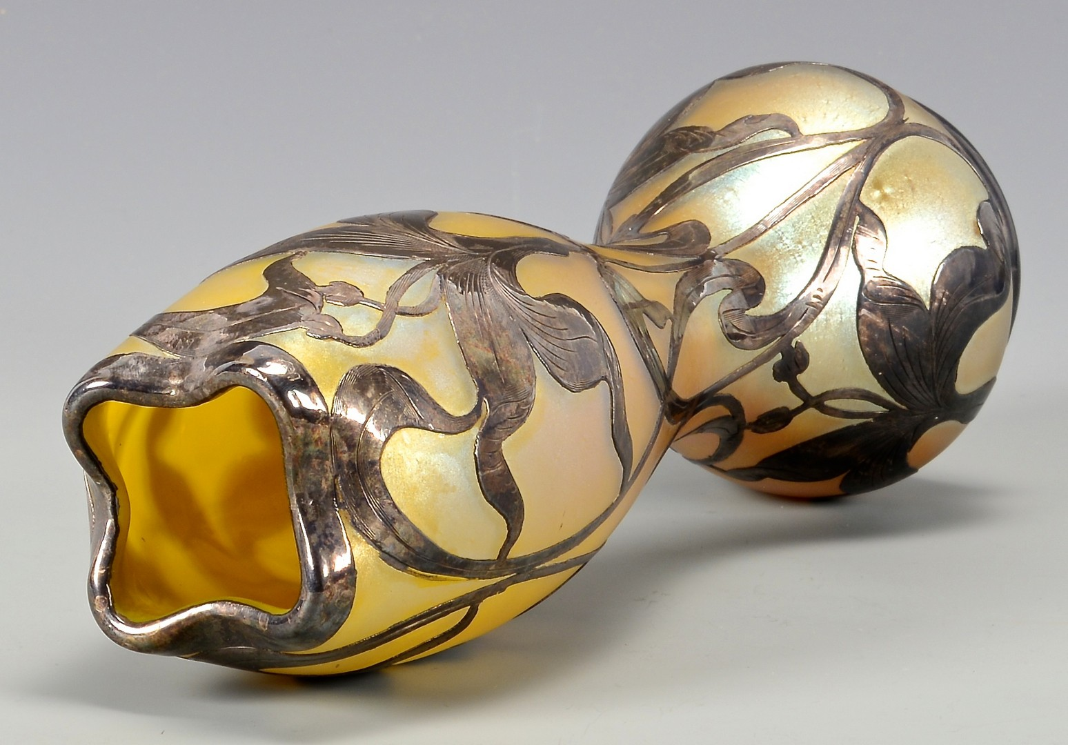 Lot 484: Loetz Art Glass Vase, Silver Overlay