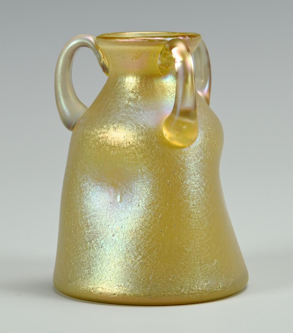 Lot 487: 2 Art Glass Vases: Quezal Persian Favrile & Loetz