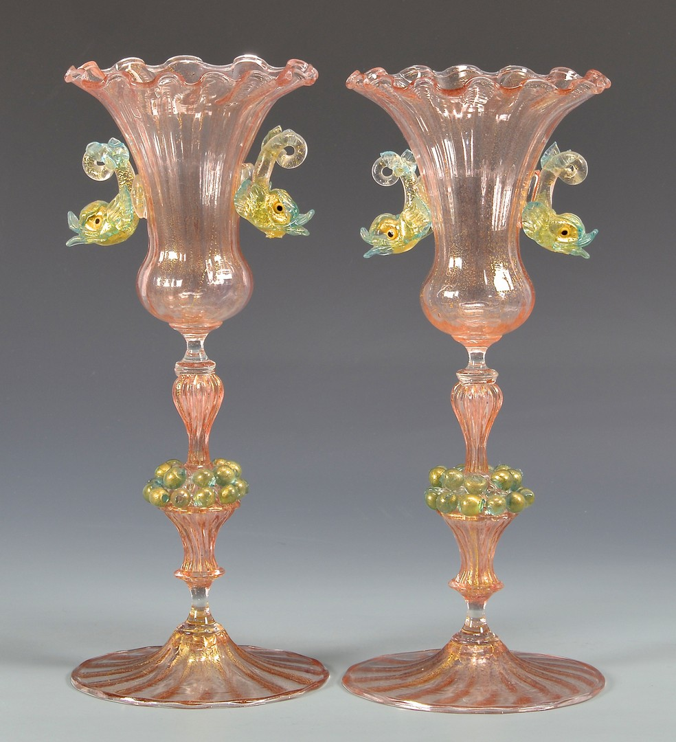 Lot 488: Pr. Early Venetian Glass Vases
