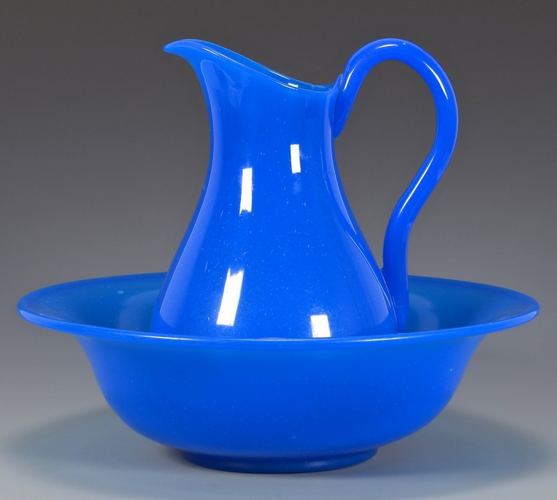 Lot 489: French Blue Opaline Glass Pitcher & Bowl
