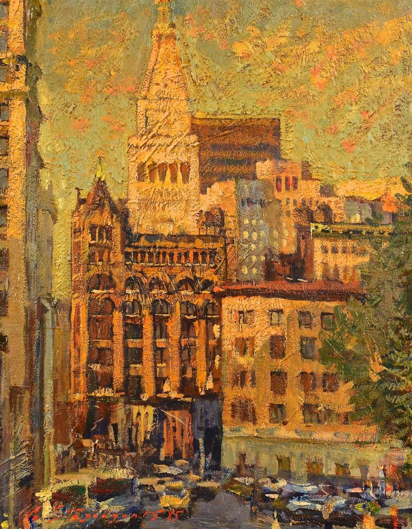 Lot 494: G. Stepanyants, Oil on Board, NYC Street Scene