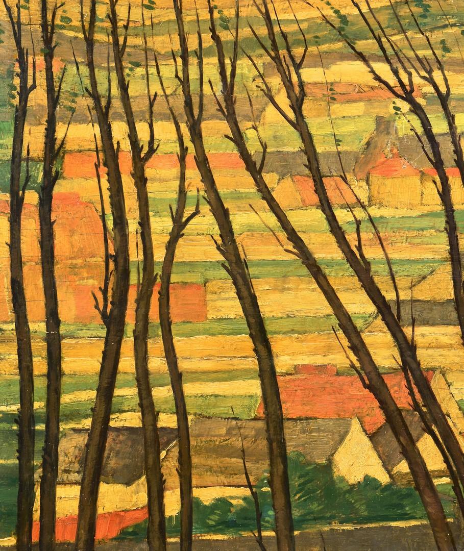 Lot 496: Henri Burkhard oil landscape, village through tree