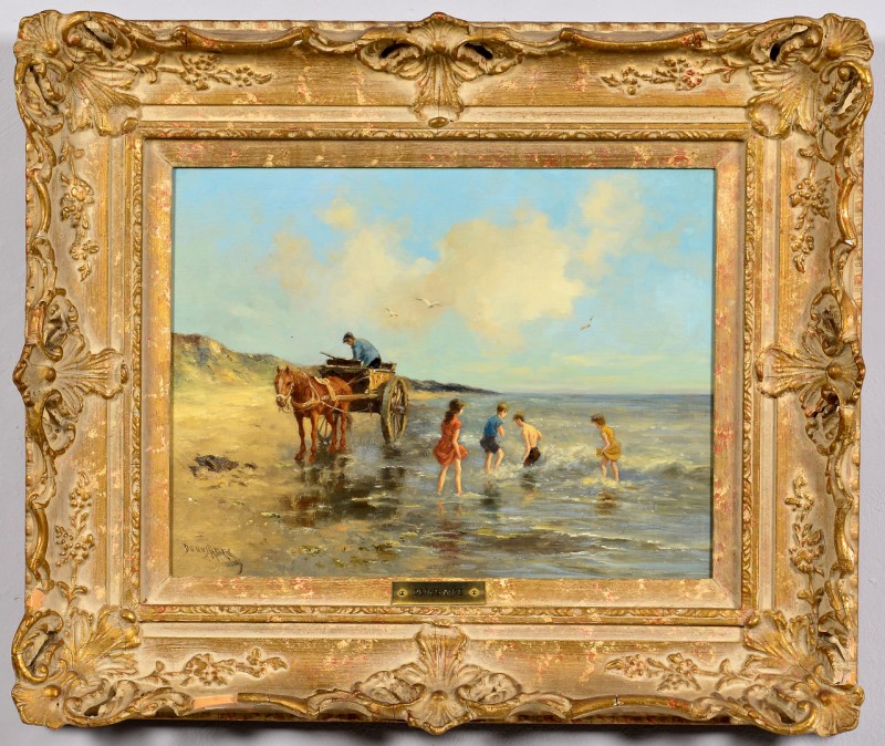 Lot 499: Dorus Arts, O/C, Beach w/ Horse Drawn Cart