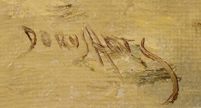 Lot 499: Dorus Arts, O/C, Beach w/ Horse Drawn Cart
