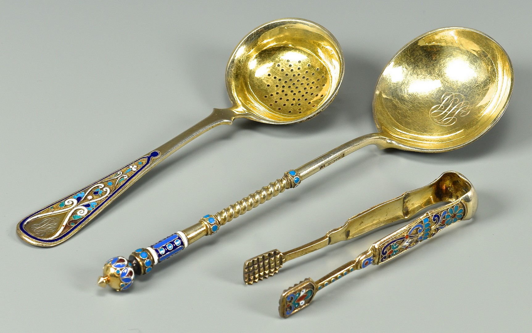 Lot 49: 3 pcs Russian Enameled, Parcel Gilt Flatware