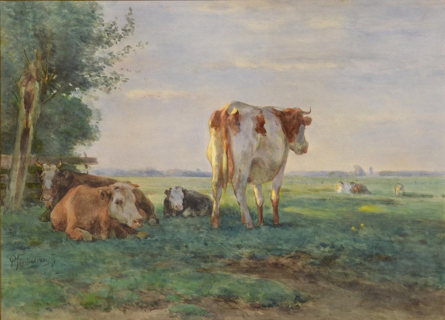 Lot 501: Pieter Stortenbeker Watercolor, Cows
