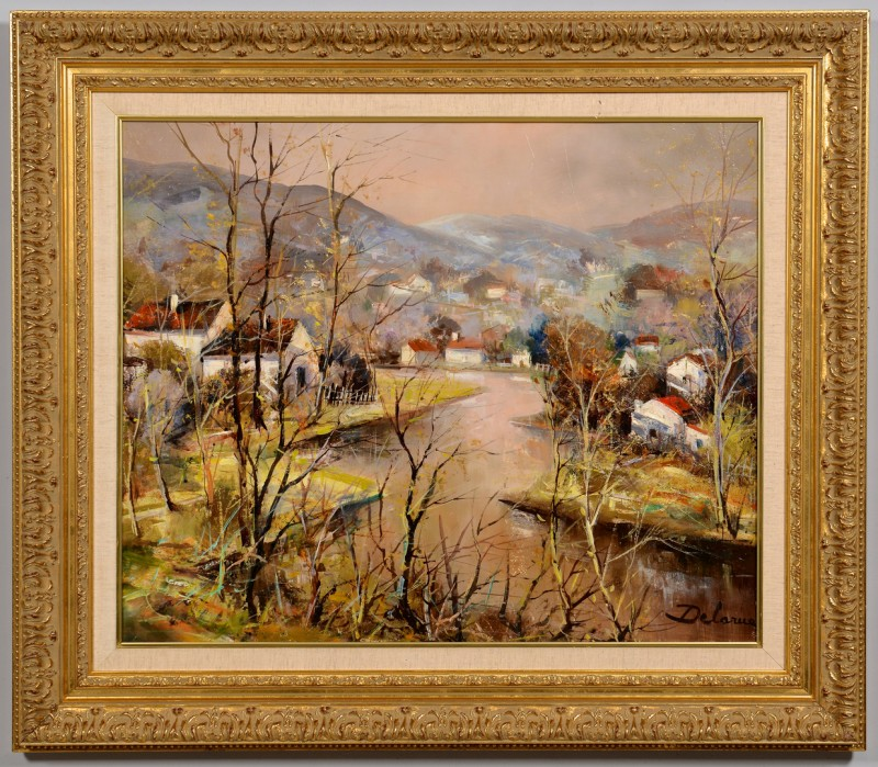 Lot 502: Lucien Delarue o/c, River Village