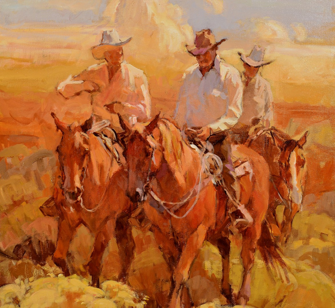 Lot 512: Suzanne Baker O/C, Cowboys in Desert