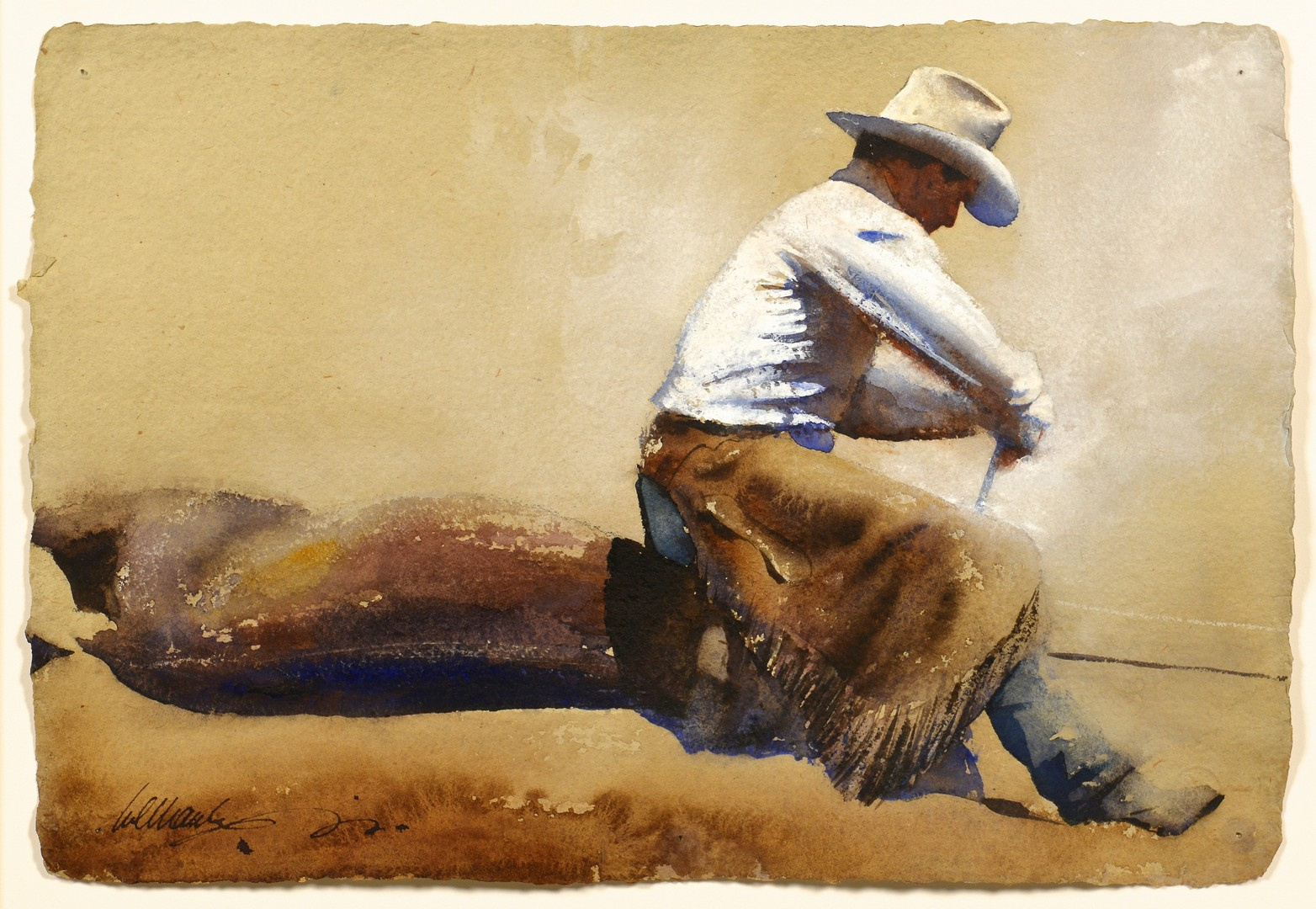Lot 514: William Matthews Watercolor, Dehorning at Maggie C