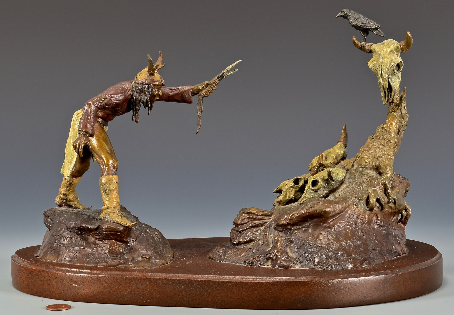 Lot 518: Gilbreth Bronze of Apache w/ Crow