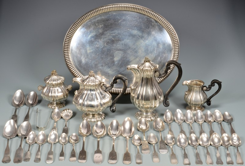 Lot 51: 800 Silver Tea Service & Assorted Coin Silver
