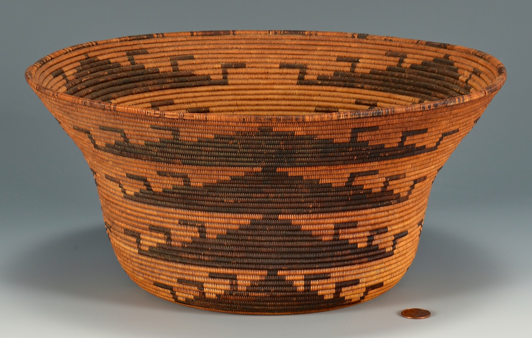 Lot 520: Native American Pomo Coiled Basket Bowl