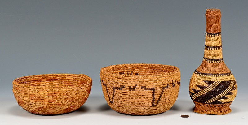 Lot 521: 2 California Native American Baskets & Basket Cove