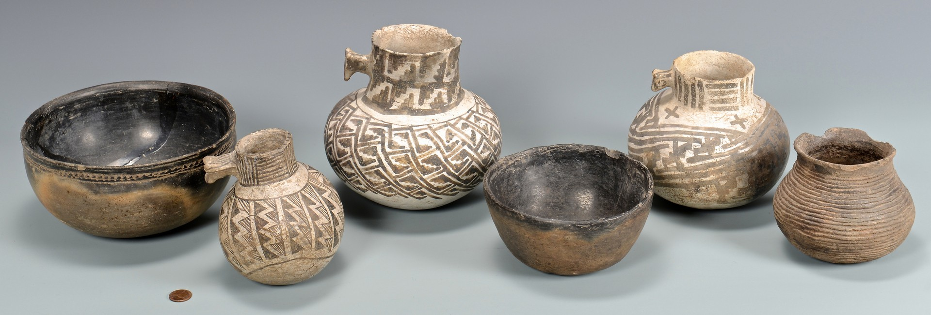 Lot 523: 6 Native American Pottery Items, incl. Anasazi