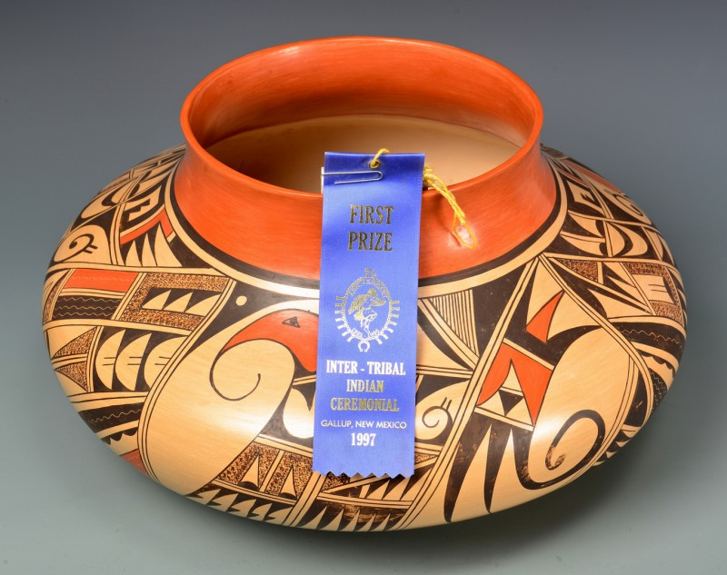 Lot 527: Dawn Navasie/Hopi Pottery Jar, Award Winner