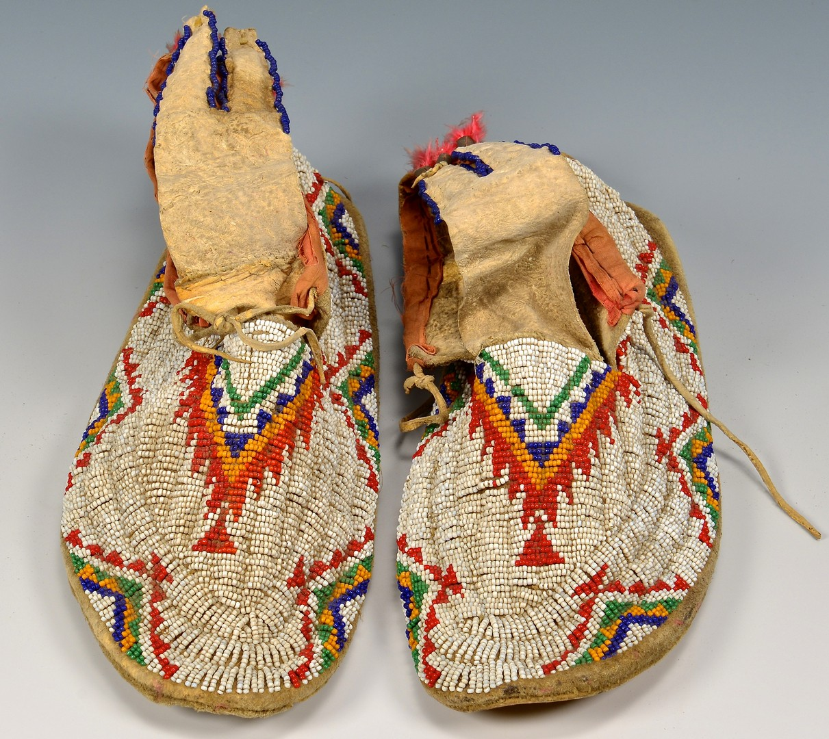 Lot 528: Pair of Native American Beaded Moccasins