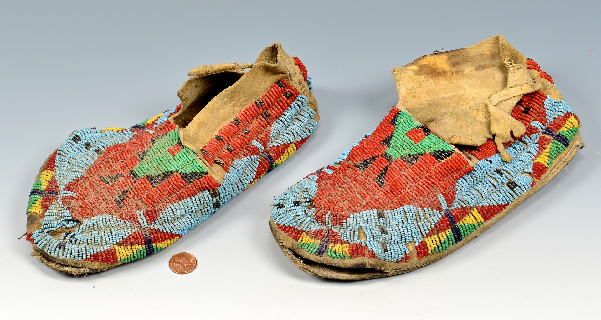 Lot 529: 3 Pairs Native American Beaded Moccasins