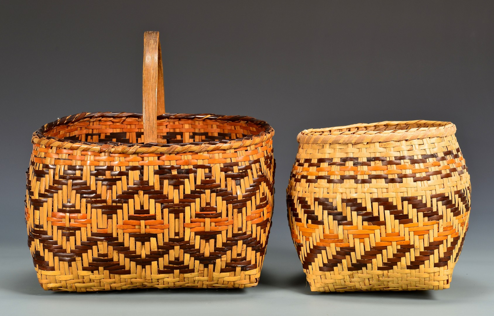 Lot 532: 3 Cherokee Rivercane Baskets, Incl. Early 20th Ce