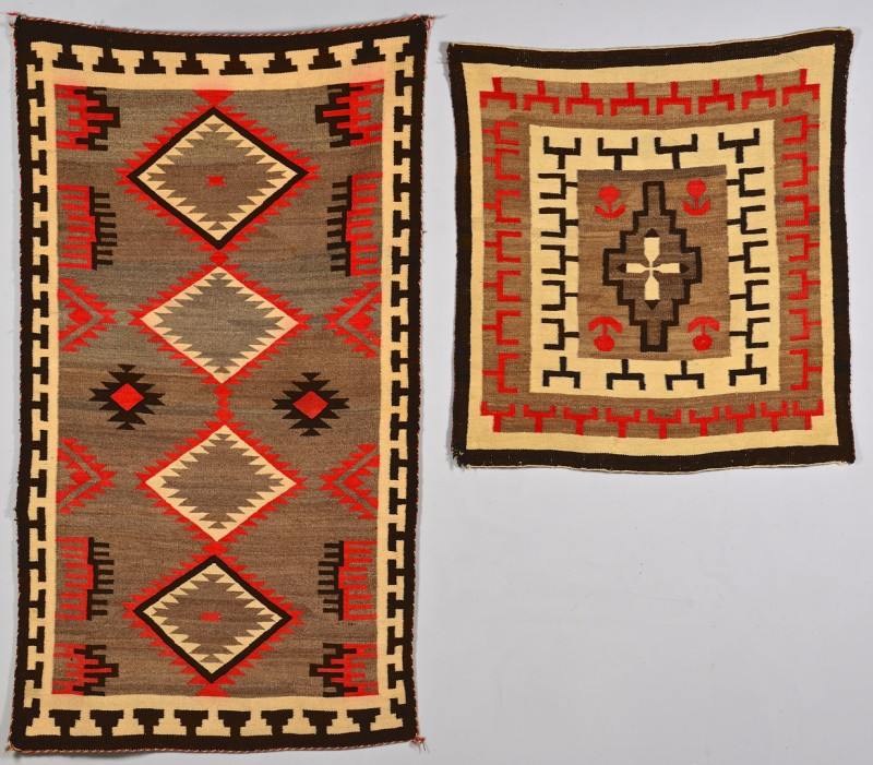 Lot 536: 2 Navajo Weavings w/ Red Highlights