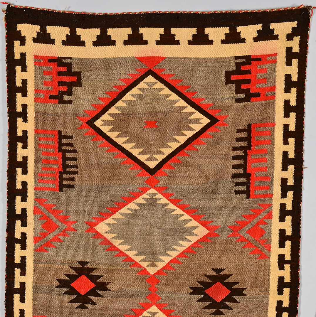 Lot 536: 2 Navajo Weavings w/ Red Highlights