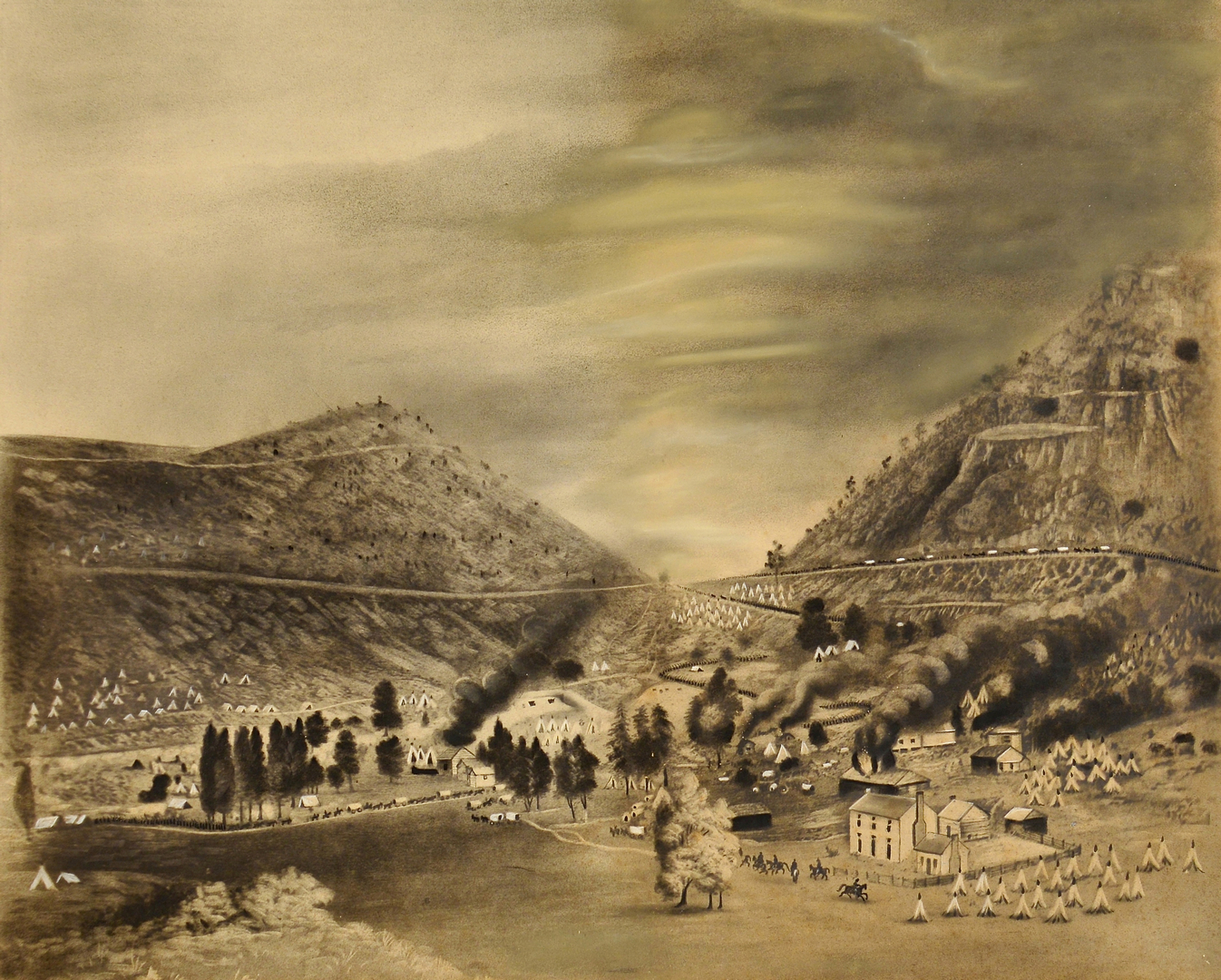 Auctions In Ohio >> Lot 549: Pastel/Charcoal Battle of Cumberland Gap, Union Ev
