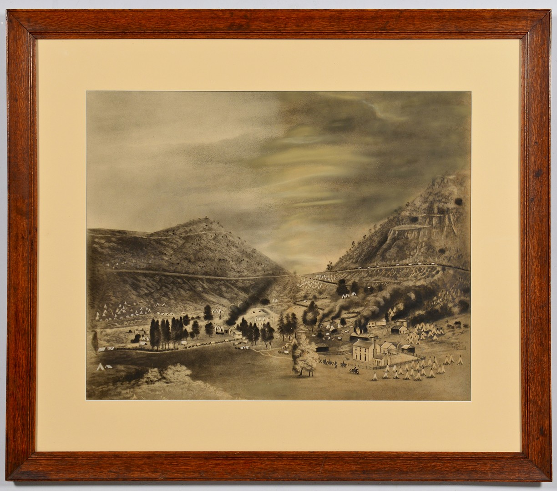 Lot 549: Pastel/Charcoal Battle of Cumberland Gap, Union Ev