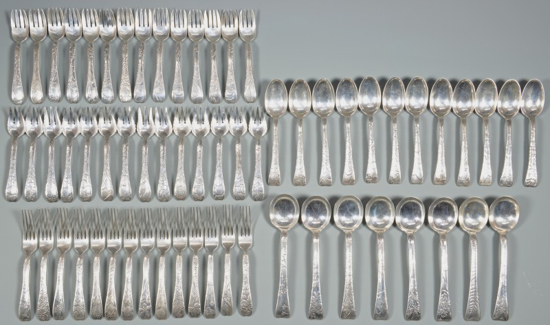 Lot 54: Tiffany Lap Over Edge Silver Flatware, 62 pcs