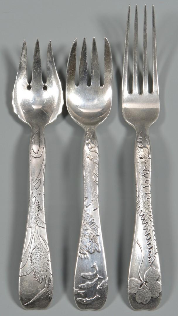 Lot 54: Tiffany Lap Over Edge Silver Flatware, 62 pcs