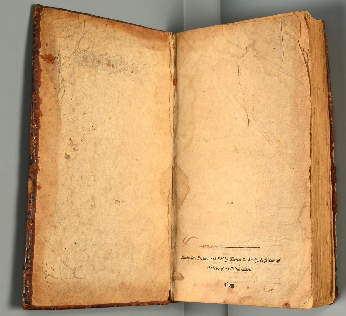 Lot 560: Haywood Tennessee Book 1809, 1st Book Pub. in Nash