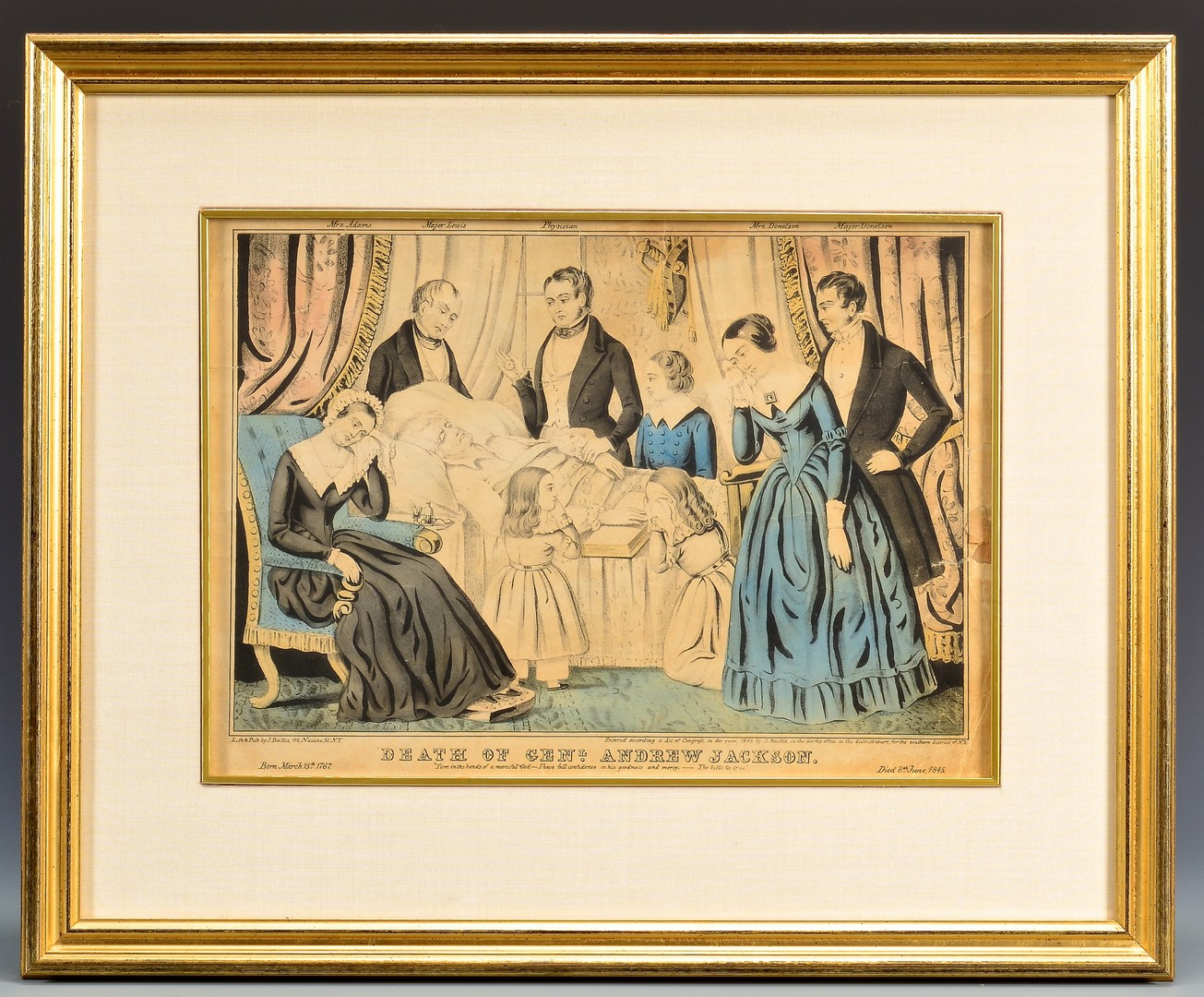 Lot 569: Lock of Andrew Jackson's Hair, Deathbed Print