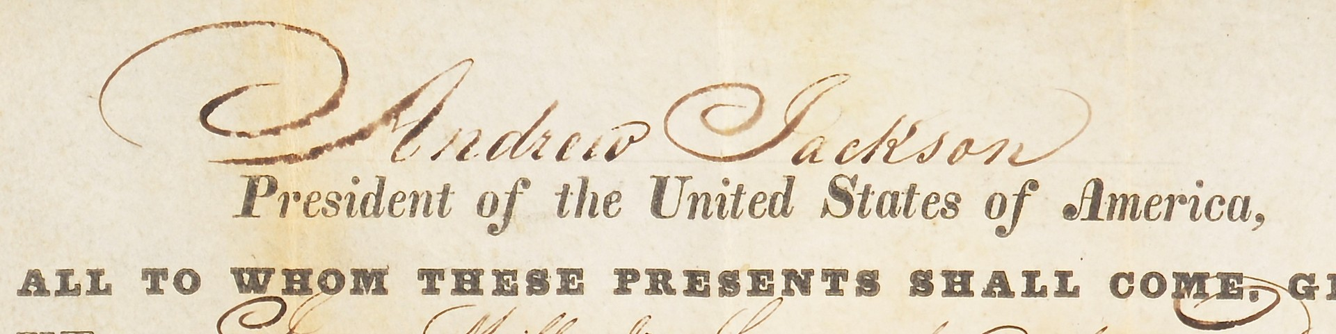 Lot 570: Andrew Jackson Signed OH Land Grant