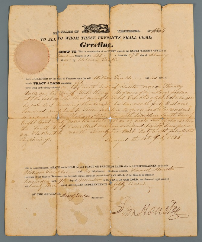 Lot 572: Sam Houston signed land grant